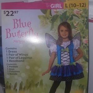 Blue Butterfly Halloween Costume with Wings